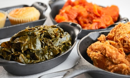 Two or Four Comfort-Food Meals or One Order of Wings with Two Drinks at 6978 Soul Food (Up to 44% Off)