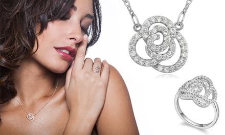 Anel ou colar em forma de flor com Swarovski Elements por 9,99€ ou conjunto por 14,99€