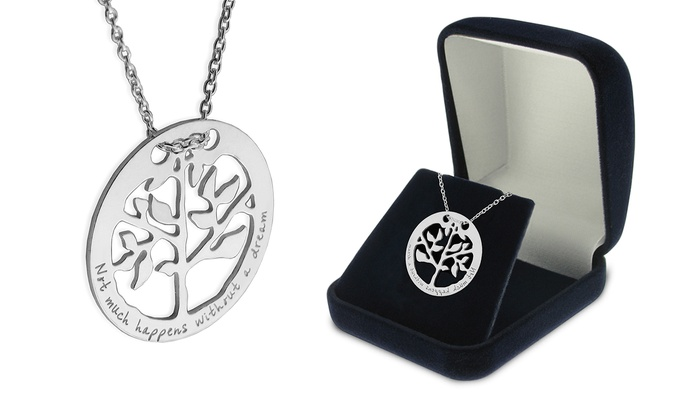 SilvexCraft Design: Engraved Tree-in-Ring Necklace in Sterling Silver from SilvexCraft Design