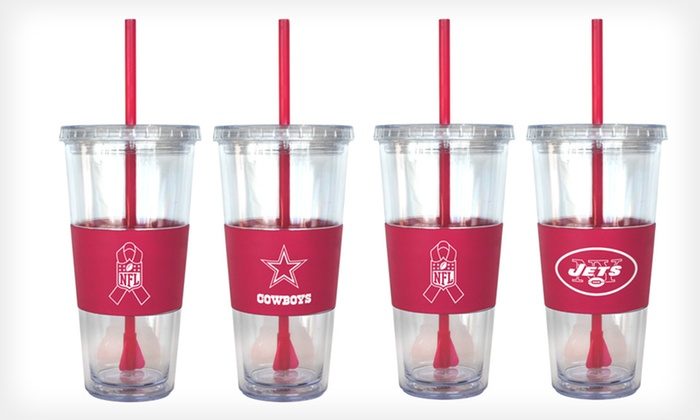 NFL Breast Cancer Awareness Tumblers: $19 for Two NFL 22-Ounce Pink Breast Cancer Awareness Tumblers ($35.98 List Price). 15 Teams Available. Free Shipping.