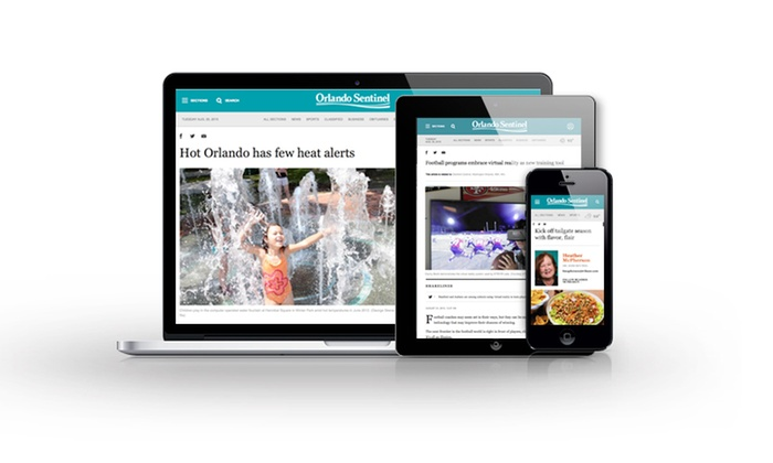 "Orlando Sentinel: One-Year Subscription to the ""Orlando Sentinel"" with Optional digitalPLUS Access (Up to 89% Off)"
