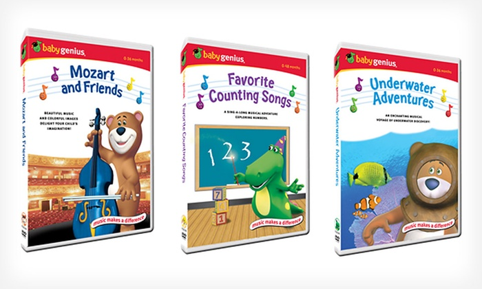 Baby Genius Six-Disc DVD Collection: $24.99 for a Baby Genius Six-Disc DVD Collection ($60 List Price). Free Shipping and Returns.