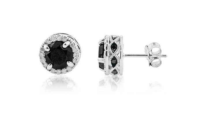1.00 Ct.T.W. Black & White Diamond Stud Halo Earrings in Sterling Silver: 1.00 Ct.T.W. Black & White Diamond Stud Halo Earrings in Sterling Silver. Free Returns.