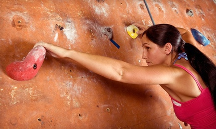 Courts Plus - Elmhurst: $12 for Indoor-Rock-Climbing Package with Gear for Two at Courts Plus (Up to $24 Value)