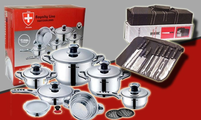 Cook Room - Thornhill: $279 for 16-Piece Royalty-Line Cookware Set and Monalisa Knives Set at Cook Room in Thornhill ($928 Value)