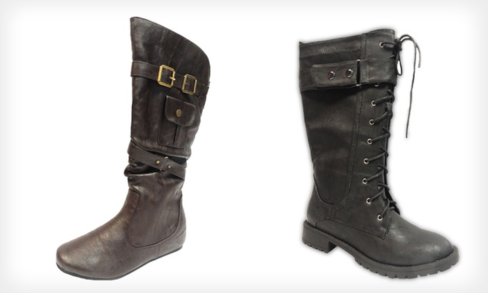 Carrini Vegan-Leather Boots: $29 for Carrini Vegan-Leather Riding Boots or Lace-Up Boots (Up to $70 List Price). 32 Options Available. Free Shipping.