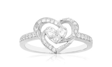 Sterling Silver Cubic Zirconia Swirl Heart Rings