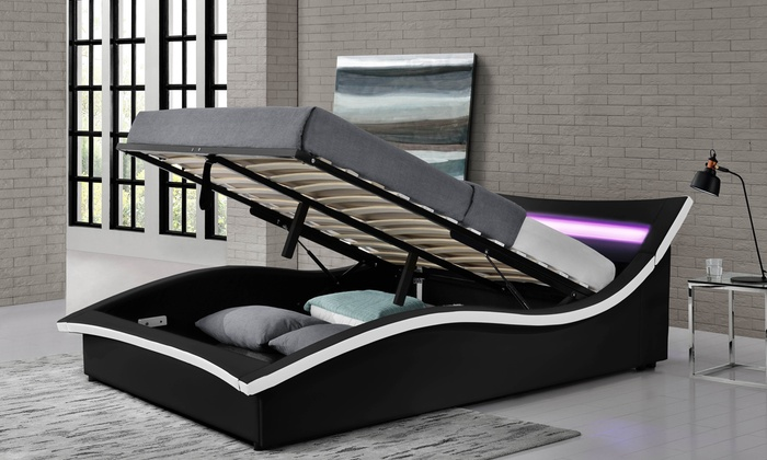 lit coffre led avec ou sans matelas groupon shopping. Black Bedroom Furniture Sets. Home Design Ideas