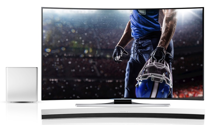 """Ultimate Big Game Package Sweepstakes: Enter to Win a Samsung 55"""" Curved Smart TV and Wireless Curved Soundbar with $500 in Fan Gear"""