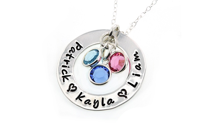 """Hannah Design: $28 for a Custom, Hand-Stamped """"Loves of My Life"""" Birthstone Necklace from Hannah Design ($53 Value)"""