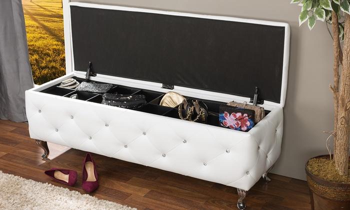 Stella Crystal Tufted Modern Storage Bench ...