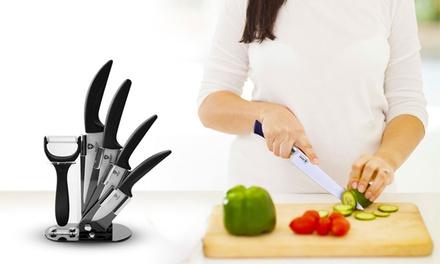 Set di 5 coltelli in ceramica con ceppo disponibile in vari colori da 24,90 € (81% di sconto)