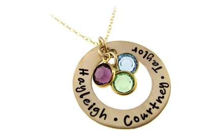 Golden Circle of Names I Love Pendant with Birthstone Crystals from Hannah Design