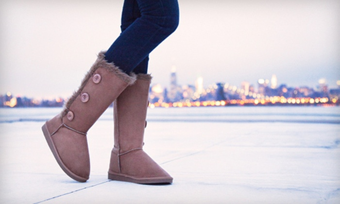 Shoe Scandal: Short, Single-Button, Tall, or Three-Button Faux-Shearing Boots from ShoeScandal.com (Up to 78% Off)