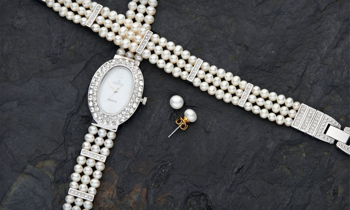Croton Freshwater-Pearl Watch Set: $54.99 for a Croton Freshwater-Pearl Watch, Bracelet, and Earring Set ($490 List Price)