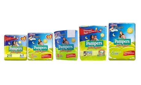 Fino a 8 confezioni di pannolini Pampers Sole e Luna. Varie taglie disponibili