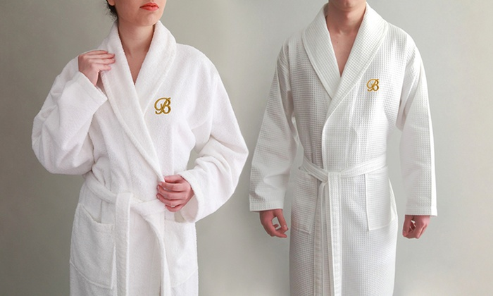 Personalized White Hooded Bath Robe, Monogrammed Turkish Cotton Bathrobe