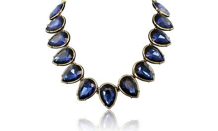 Passiana Pear-Shaped Blue-Crystal Strand Necklace