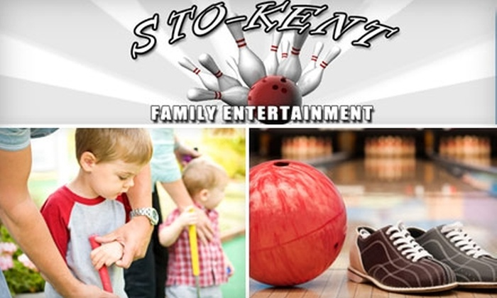 Sto-Kent Family Entertainment - Stow: $45 for a Family Bowling Night with Shoe Rental for Six and a Large Pizza at Sto-Kent Family Entertainment (Up to $101 Value)