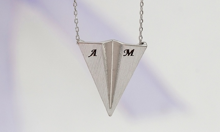 MonogramHub: $5 for an Initial Paper-Plane Necklace Necklace from MonogramHub ($46.99 Value)