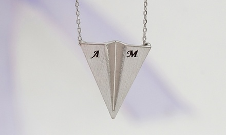 $5 for an Initial Paper-Plane Necklace Necklace from MonogramHub ($46.99 Value)