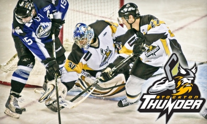 Stockton Thunder - Irvington: Ticket to a Stockton Thunder Game, Stockton Thunder Hat, and a $10 Merchandise Voucher. Choose From Two Seating Options and Two Games