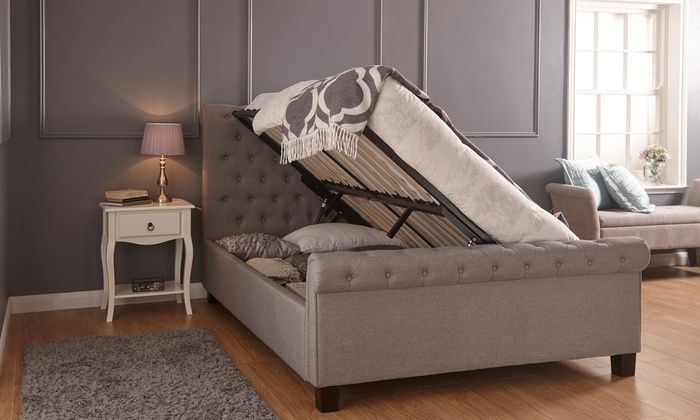 Ottoman Buttoned Bed Frame with Optional Mattress