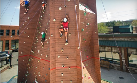 Rock Climbing on Outdoor Tower with Shoe Rental for One or Four at Rock Dimensions (Up to 51% Off)