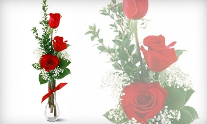 House of Flowers - North Aurora: $15 for a Rose-Trio Bouquet at House of Flowers in Aurora ($30 Value)