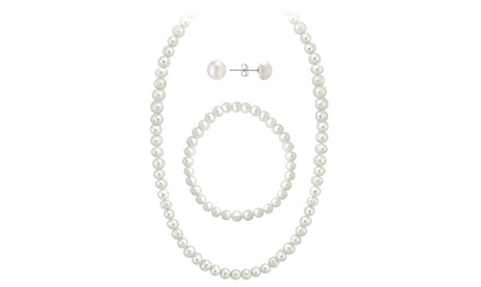 Sterling Silver Genuine Freshwater Cultured White Pearl Necklace, Bracelet, and Stud Earrings Set