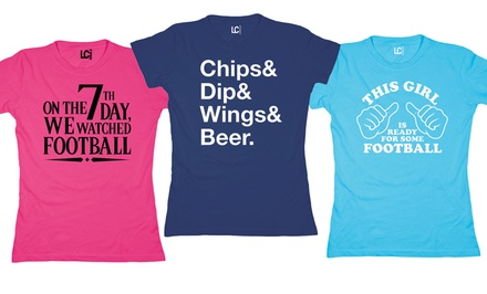 Women's Football Tees. Multiple Print Designs Available.