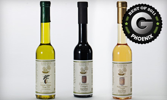 Queen Creek Olive Mill - La Sentiero: $25 for an Oil and Vinegar Tri-pak and Olive Oil 101 Tour at Queen Creek Olive Mill ($52.99 Value)