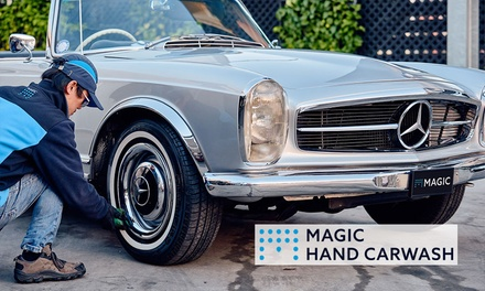 Outside Wash $9 + Clay & Polish $29, or Detail Mini, Interior or Exterior $99 or Full $180, Magic Hand Carwash