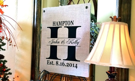 $29.99 for a 16x20 Burlap Family Wall Hanging from LilyDeal.com ($59.99 Value)