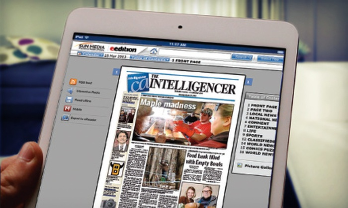 """Belleville Intelligencer - DUMMY: $25 for a One-Year Subscription to the E-edition of the """"Belleville Intelligencer"""" ($54.10 Value)"""