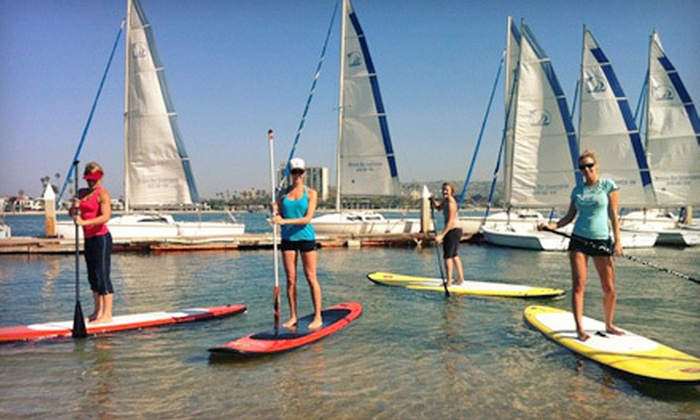 OEX Mission Bay  - Mission Beach: 90-Minute Yoga or Beginner Standup-Paddleboard Lesson for One or Two at OEX Mission Bay (Up to 58% Off)