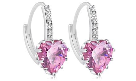 5.00 CTW Lab Created Heart Cut Pink Sapphire Drop Earrings