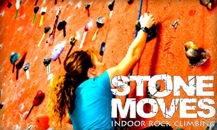 Stone Moves Indoor Rock Climbing - Champions Park: $10 for a One-Day Climbing Pass with Harness, Shoes, and Chalk-Bag Rental from Stone Moves Indoor Rock Climbing ($19 Value)