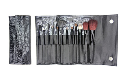 12-Piece Beaute Basics Makeup-Brush Set with Faux-Reptile Wrap