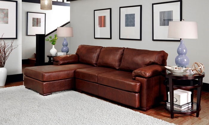 Leather sectional sofa groupon goods for Sectional sofa groupon
