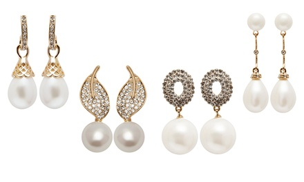Natural Shell Pearl Stud and Drop Earrings with Swarovski Elements Crystals from $19.99–$24.99