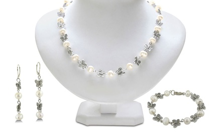 Butterfly and Freshwater Pearl Set with Earrings, Necklace, and Bracelet
