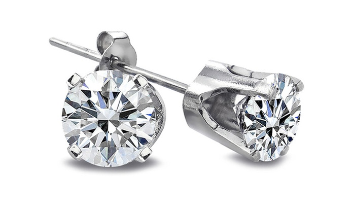 1/5-Carat Round Diamond and 14-Karat White Gold Stud Earrings: 1/5-Carat Round Diamond and 14-Karat White Gold Stud Earrings