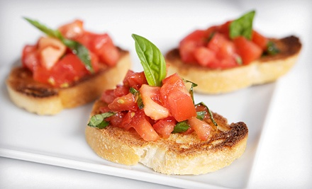 One shared plate or bruschetta and two wine flights