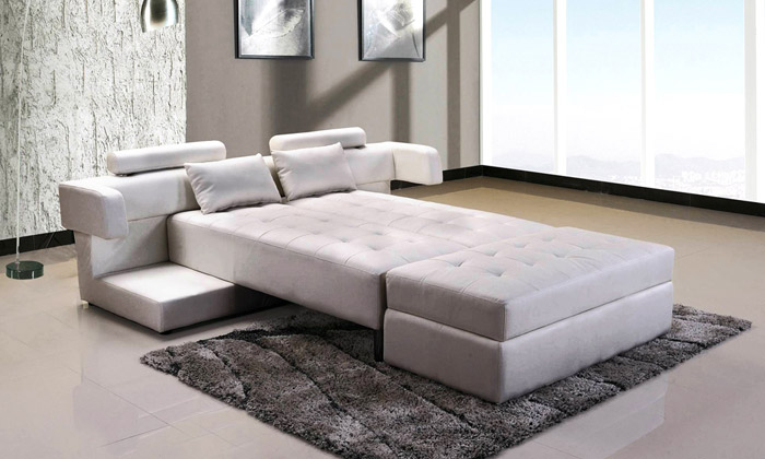 Canap d 39 angle r versible et convertible groupon shopping - Canape d angle convertible avec pouf ...