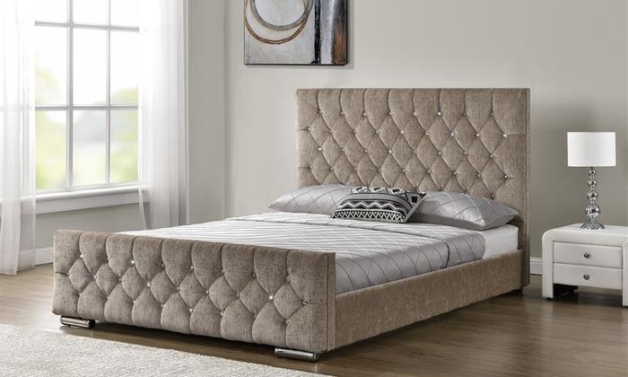 Velvet or Chenille Upholstered Arya Bedframe with Optional Mattress
