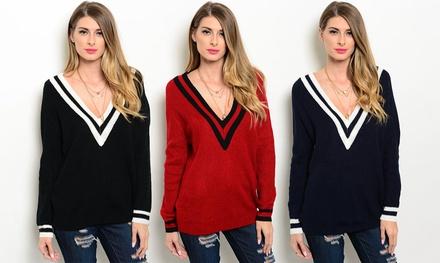 Women's Deep V-Neck Varsity-Knit Sweater