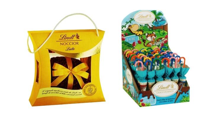 Global Dolci S.a.s. di Pezzella Cornelia & c.: Lindt: Uovo nocciolato e 42 ombrellini al cioccolato a 29,90 € invece di 53,39