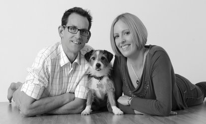 image for Pet and Family Photoshoot With Framed Print for £19 at Barrett & Coe (88% Off)
