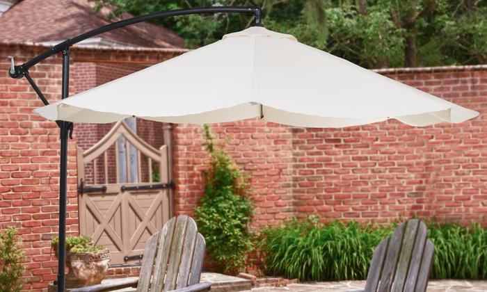Pure Garden Offset 10 Ft  Aluminum Hanging Patio Umbrella